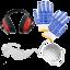 Schutzkit handschuhe augenschutz gehoerschutz und staubmaske kostenlos