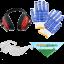 Schutzkit: Handschuhe, Augenschutz, Gehörschutz und Halstuch AgriEuro!